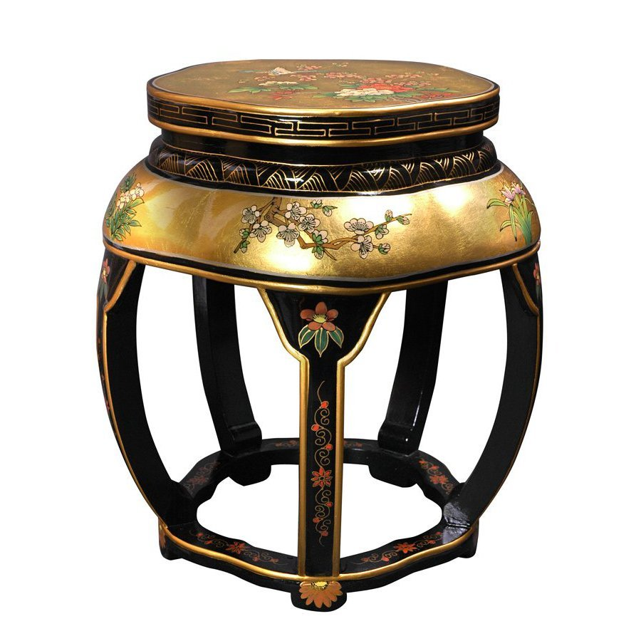 Oriental Furniture 18-in Black/Gold Indoor Round Wood Plant Stand