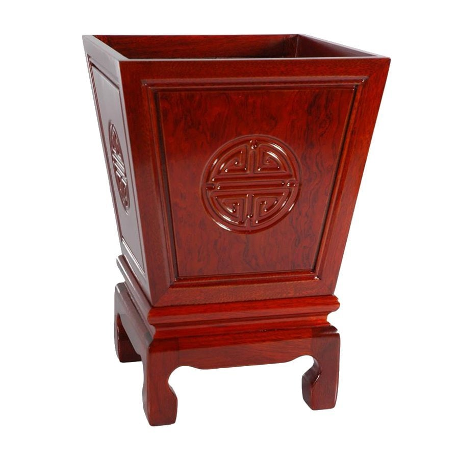 Oriental Furniture 17.5-in Cherry Indoor Square Wood Plant Stand