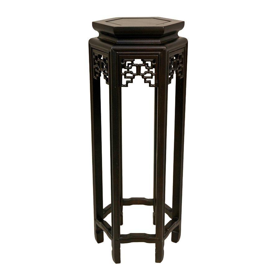 Oriental Furniture 36-in Dark Rosewood Indoor Round Wood Plant Stand