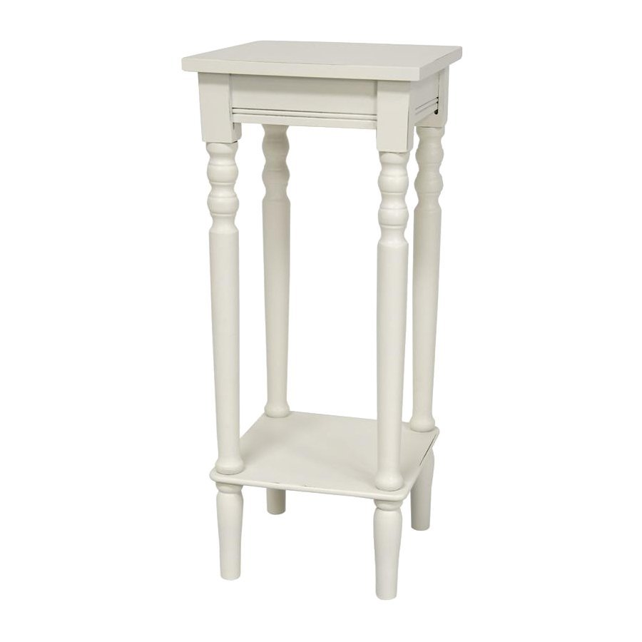 Oriental Furniture 28 5 In White Indoor Square Wood Plant Stand