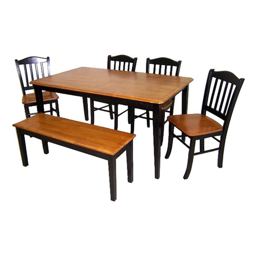 Boraam Industries Shaker Black/Oak 6-Piece Dining Set with Dining Table