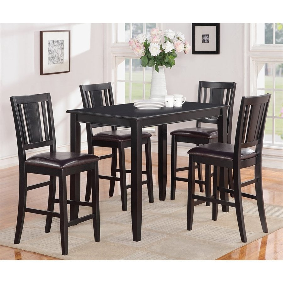 East West Furniture Buckland Black Dining Set With Counter Height Table