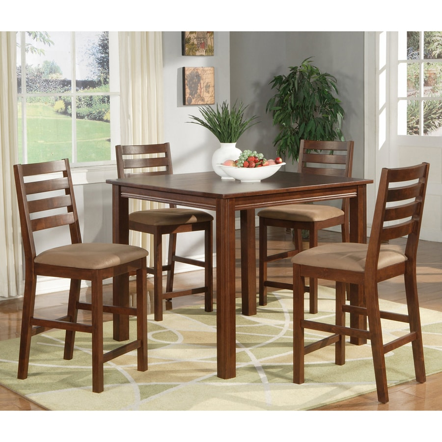 East West Furniture Cafe Espresso 5-Piece Dining Set with Counter Height Table