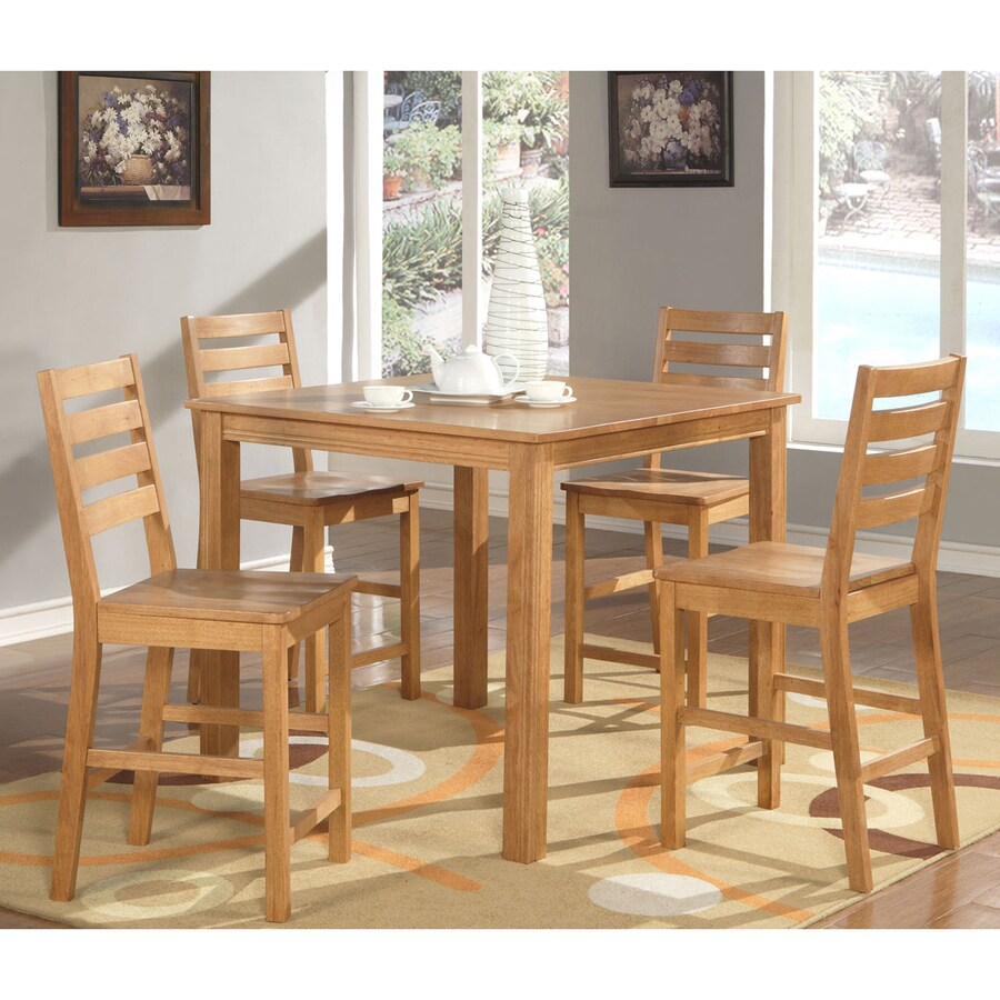 East West Furniture Cafe Oak 5-Piece Dining Set with Counter Height Table