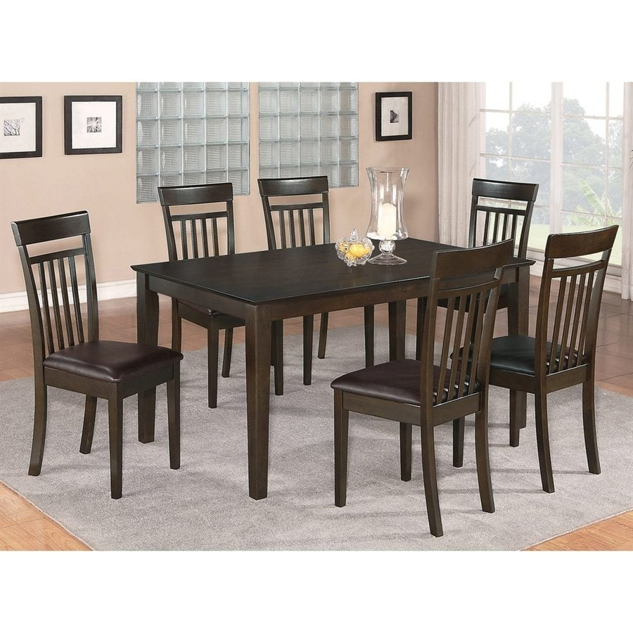 East West Furniture Capri Cappuccino Dining Set with Rectangular Dining (29-in To 31-in) Table