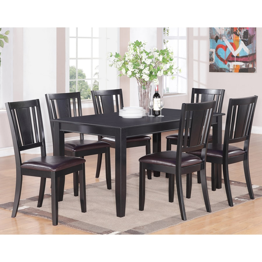 East West Furniture Dudley Black 7 Piece Dining Set With Dining Table