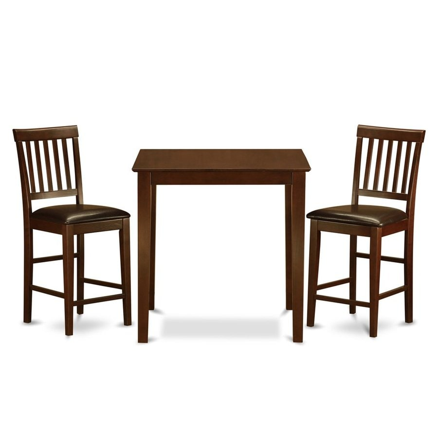 East West Furniture Vernon Mahogany 3-Piece Dining Set with Counter Height Table