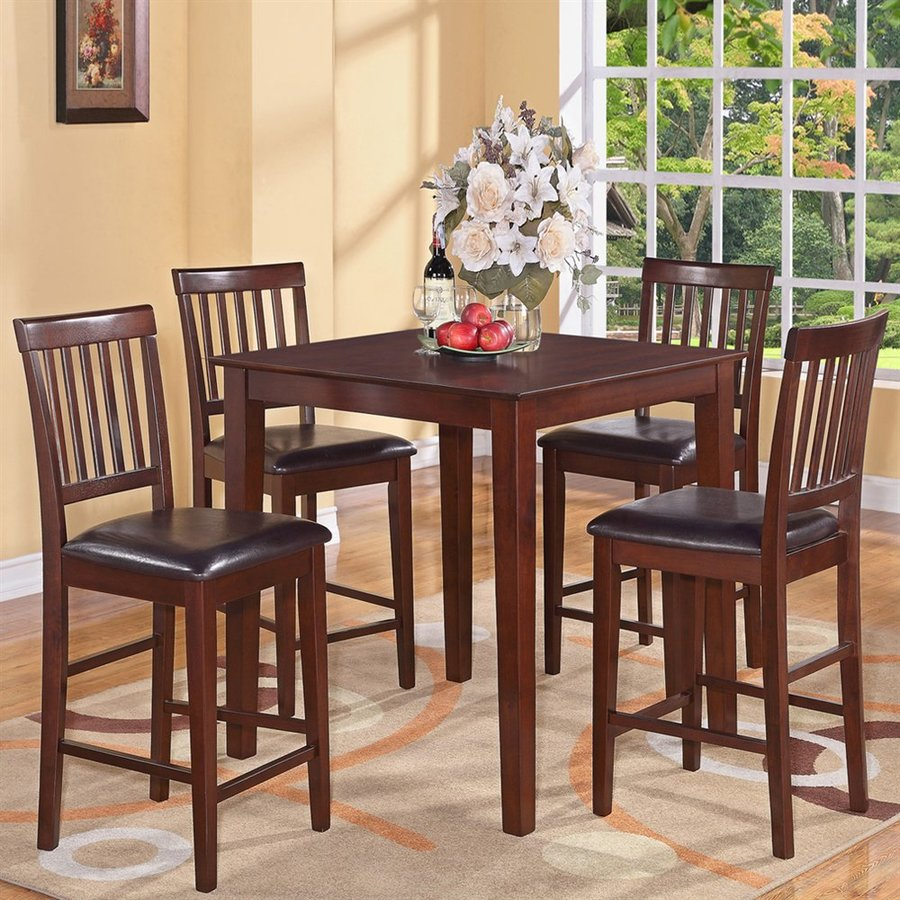 East West Furniture Vernon Mahogany Dining Set with Square Counter (35-in To 37-in) Table