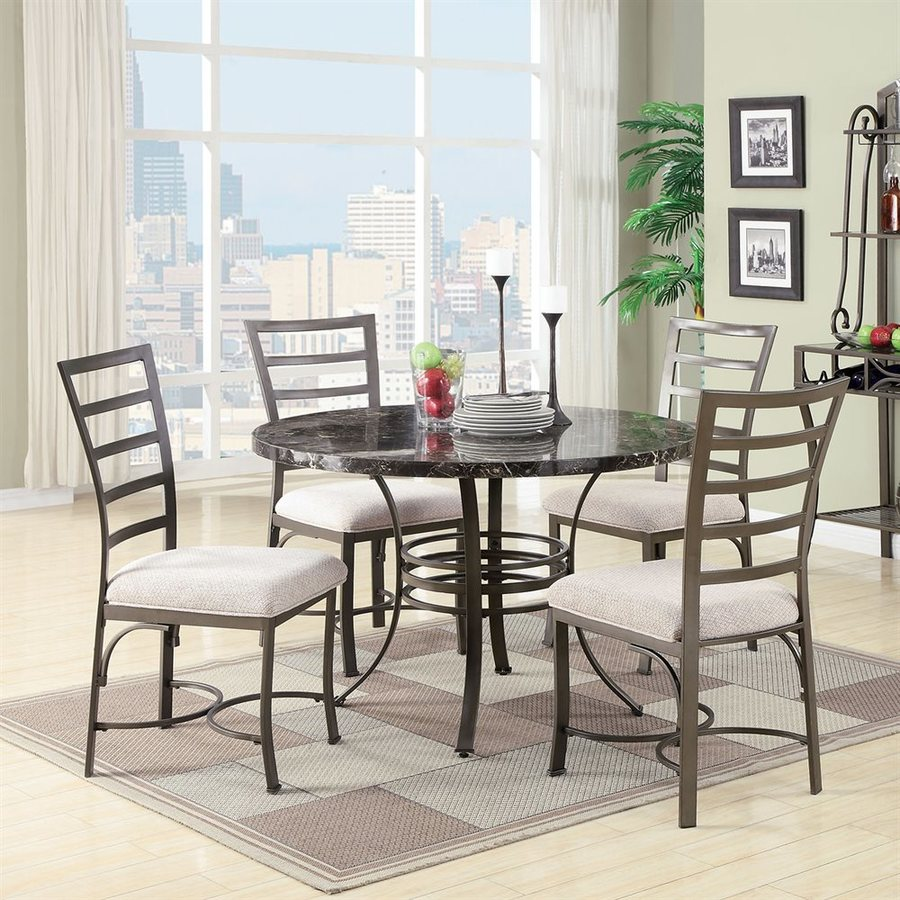 ACME Furniture Daisy Beige 5 Piece Dining Set With Round Dining Table