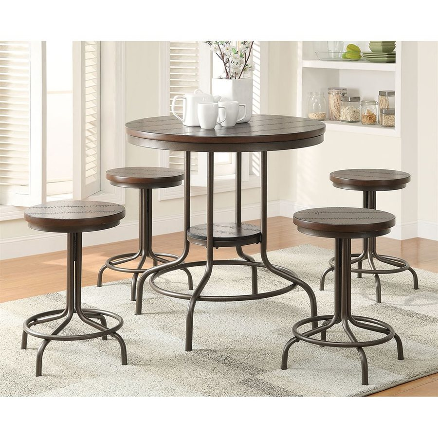 ACME Furniture Burney Cherry Oak 5-Piece Dining Set with Round Counter Height Table