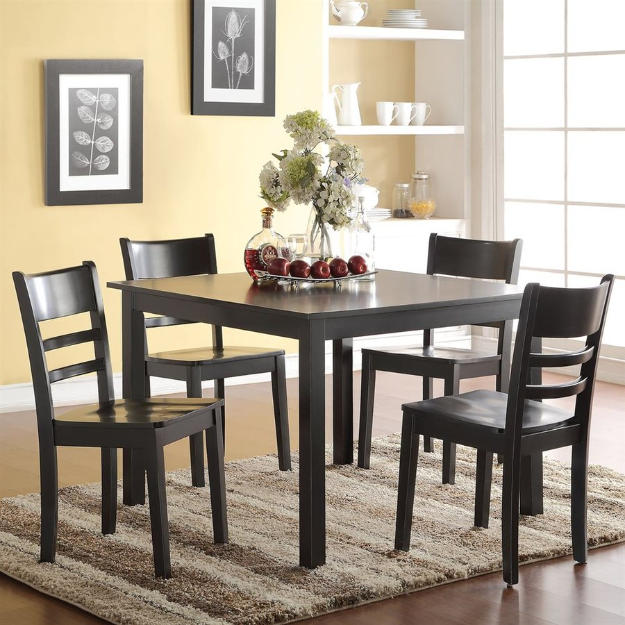 ACME Furniture Veles Black Dining Set with Square Dining (29-in To 31-in) Table