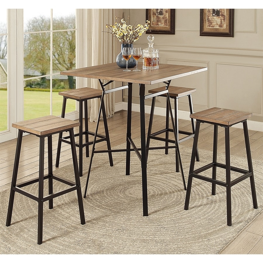 ACME Furniture Dora Gray oak Dining Set with Square Bar (41-in To 43-in) Table