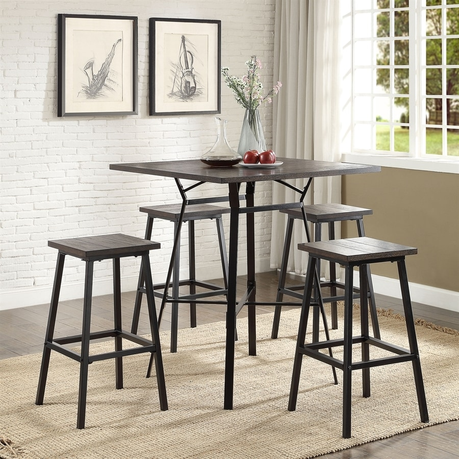 ACME Furniture Dora Dark oak Dining Set with Square Bar (41-in To 43-in) Table