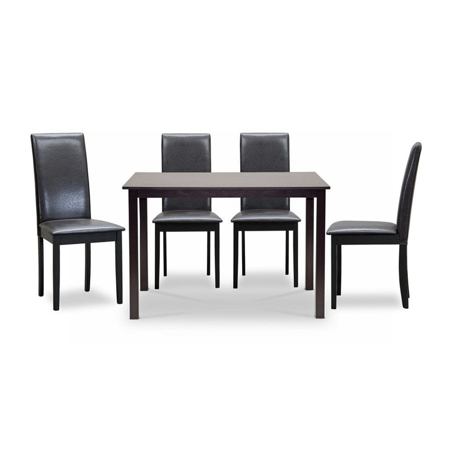 Baxton Studio Fallabella Dark brown Dining Set with Rectangular Dining (29-in To 31-in) Table