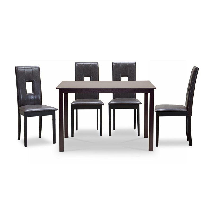 Baxton Studio Bellar Dark brown Dining Set with Rectangular Dining (29-in To 31-in) Table