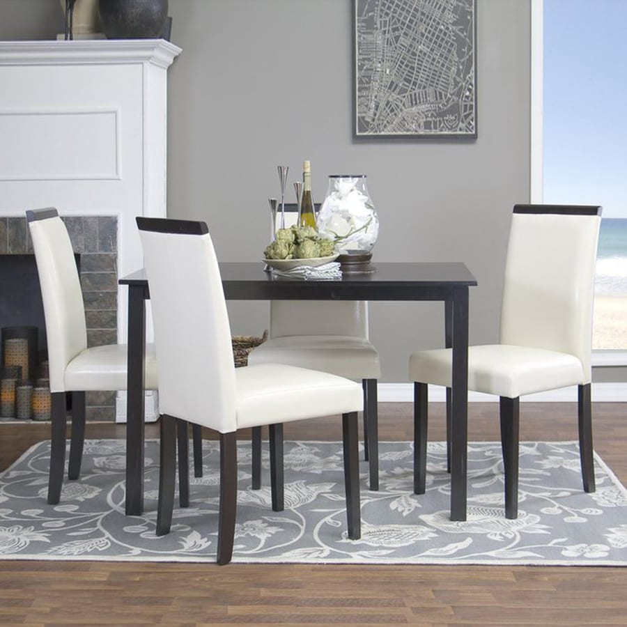 Baxton Studio Milano Dark Brown 5-Piece Dining Set with Dining Table