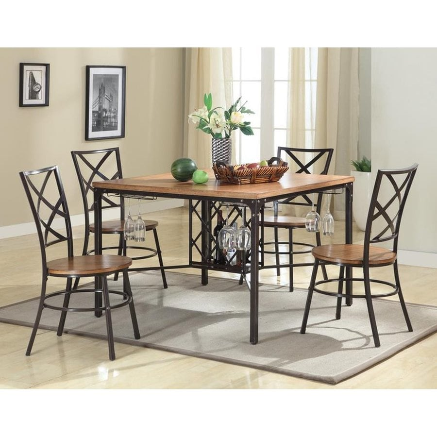 Baxton Studio Vintner Rustic Wood Black 5 Piece Dining Set