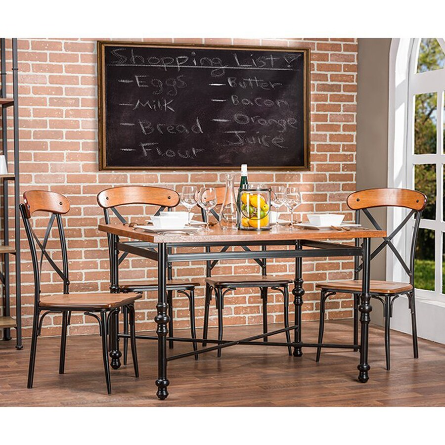 Baxton Studio Broxburn Distressed Ash/Antique Black 5-Piece Dining Set with Dining Table