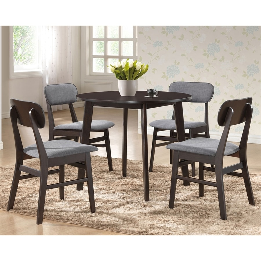 Baxton Studio Debbie Dark espresso Dining Set with Round Dining (29-in To 31-in) Table