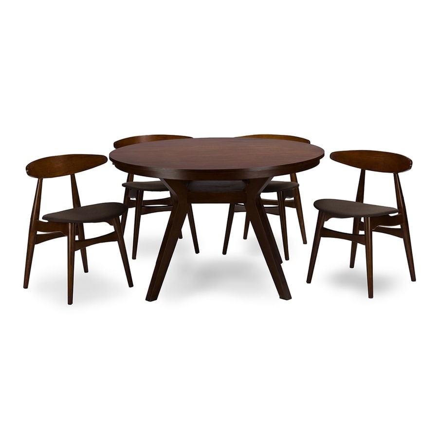 Exceptionnel Baxton Studio Flamingo Walnut 5 Piece Dining Set With Round Dining Table