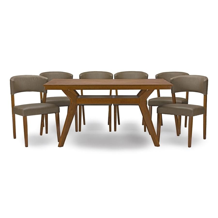 Baxton Studio Montreal Dark Warm Grey 7-Piece Dining Set with Dining Table
