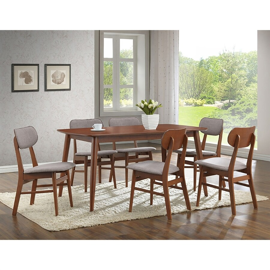 Baxton Studio Sacramento Stony grey Dining Set with Rectangular Dining (29-in To 31-in) Table