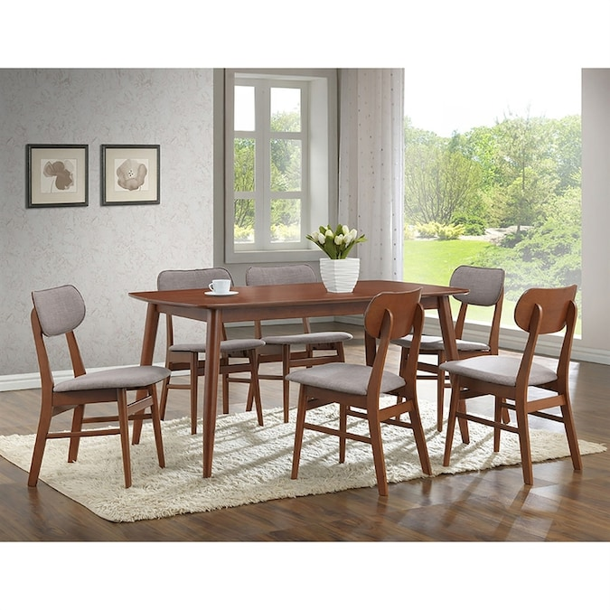 Baxton Studio Sacramento Stony Grey 7 Piece Dining Set With Dining Table In The Dining Room Sets Department At Lowes Com