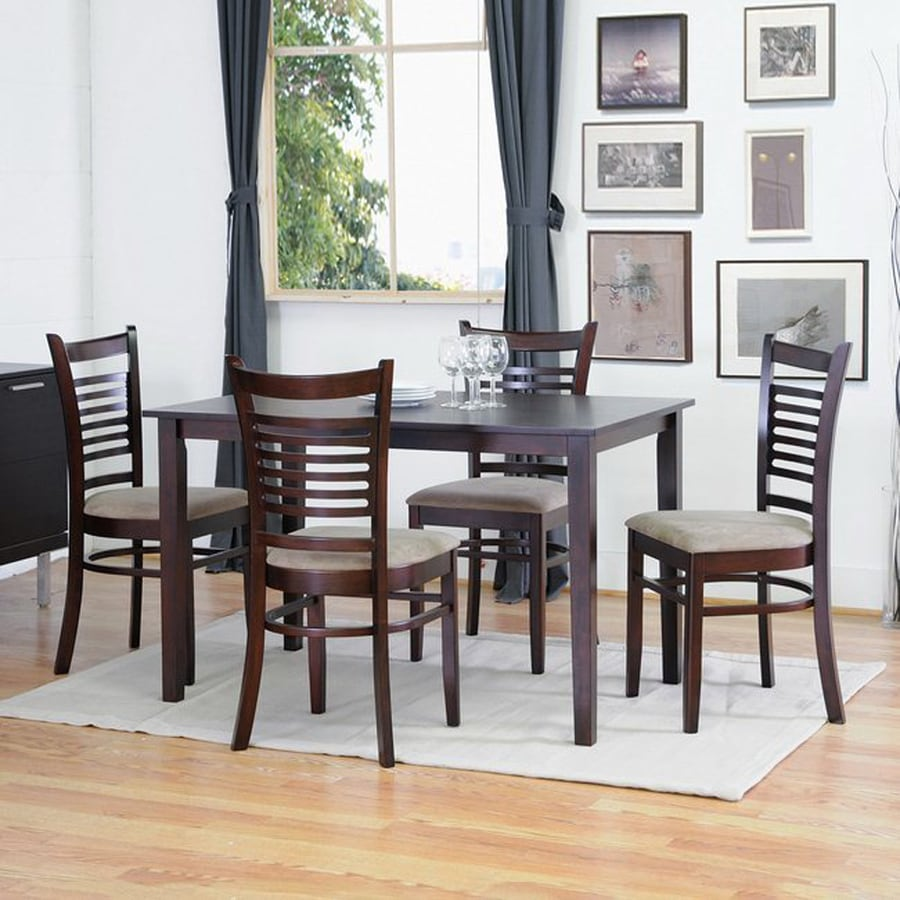 Baxton Studio Cathy Dark Brown 5-Piece Dining Set with Dining Table