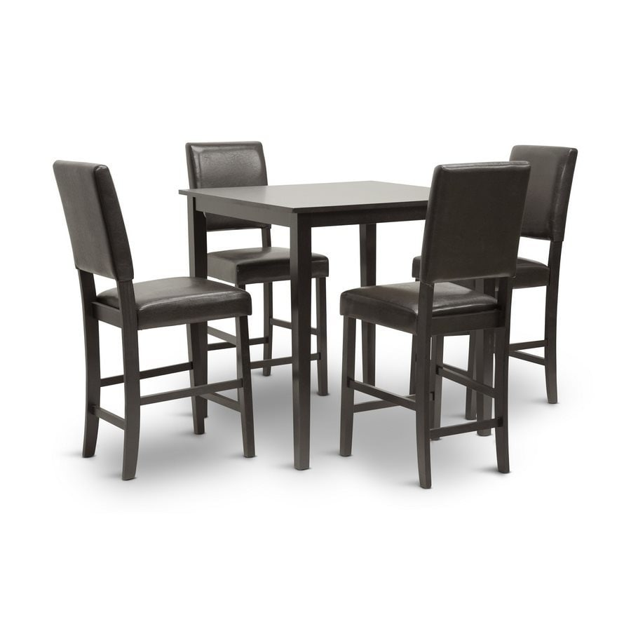 Baxton Studio Love Wenge 5-Piece Dining Set with Counter Height Table