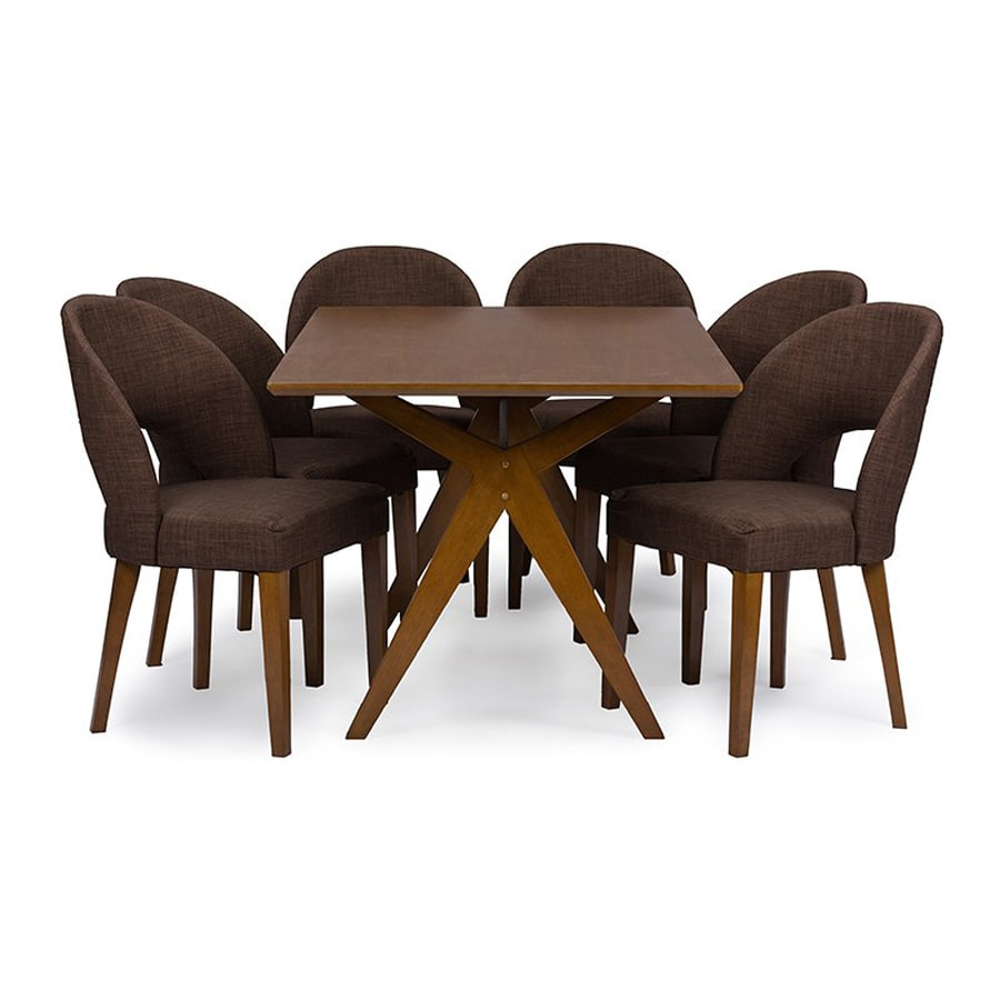 Baxton Studio Lucas Walnut 7-Piece Dining Set with Dining Table