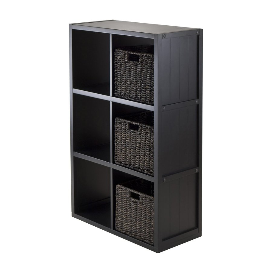 Winsome Wood Timothy Wainscoting Black Composite 6-Shelf Bookcase