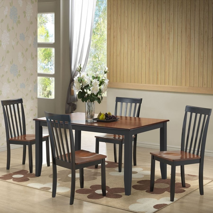 Boraam Industries Bloomington Black/Cherry 5-Piece Dining Set with Dining Table
