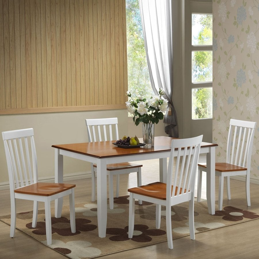 Boraam Industries Bloomington White/oak Dining Set with Rectangular Dining (29-in To 31-in) Table