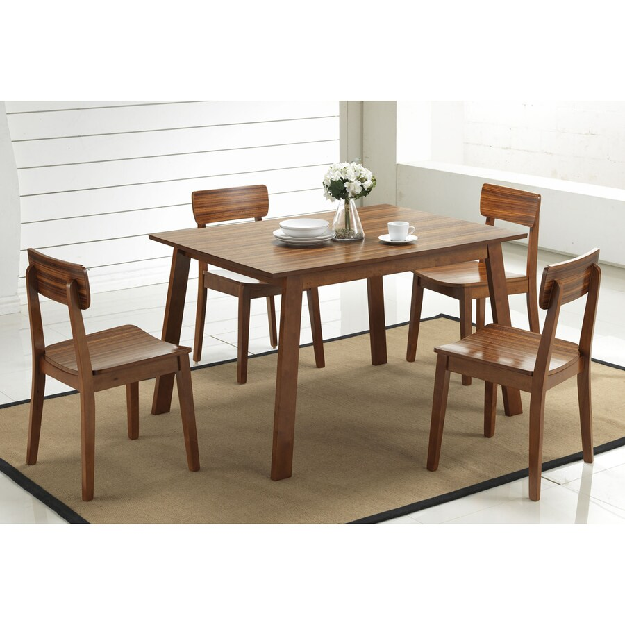 Boraam Industries Zebra Hagen Rich walnut Dining Set with Rectangular Dining (29-in To 31-in) Table