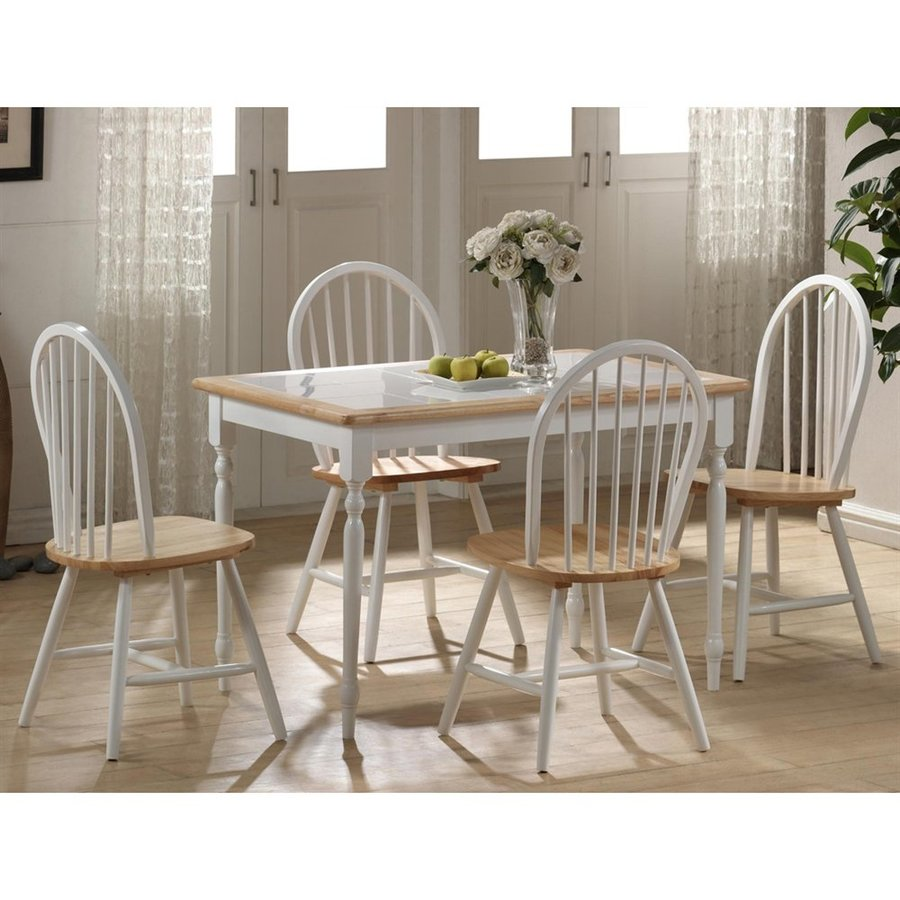Boraam Industries White/Natural 5-Piece Dining Set with Dining Table