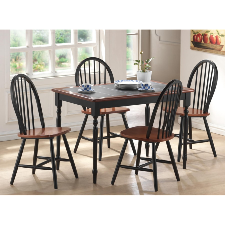 Boraam Industries Black/Cherry 5-Piece Dining Set with Dining Table