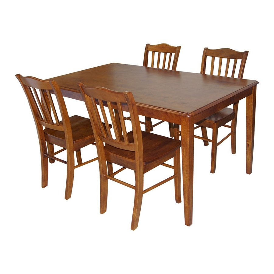 Boraam Industries Shaker Walnut 5-Piece Dining Set with Dining Table
