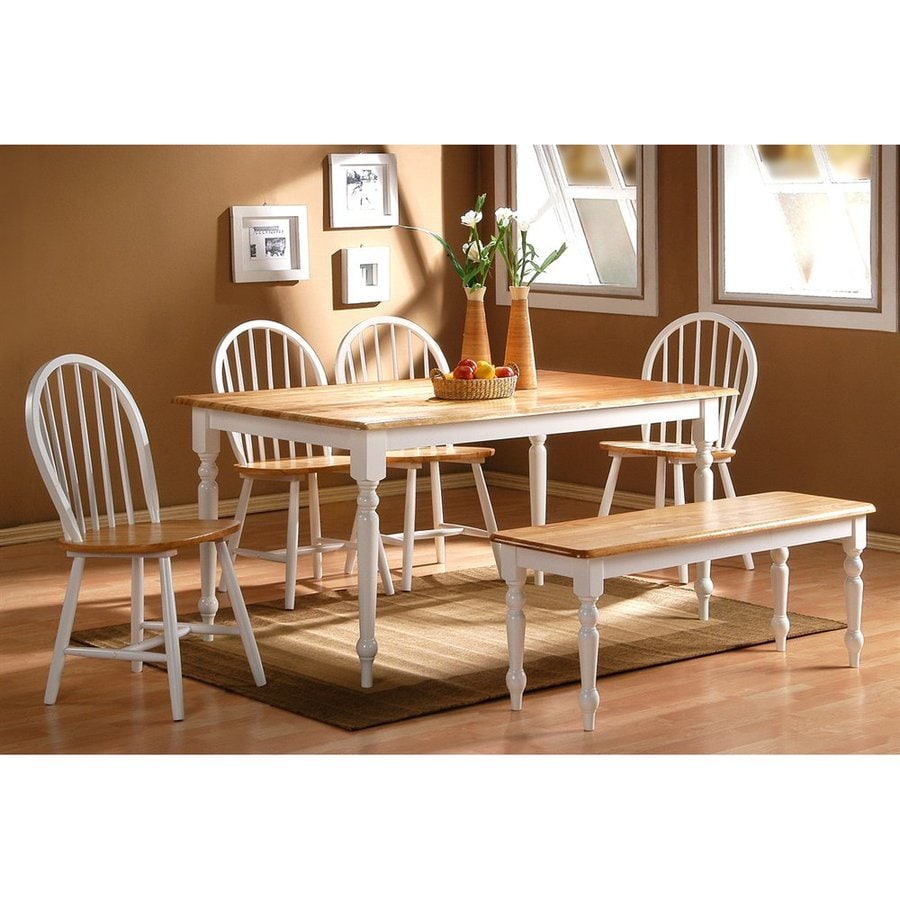 Boraam Industries Farmhouse White/natural Dining Set with Rectangular Dining (29-in To 31-in) Table