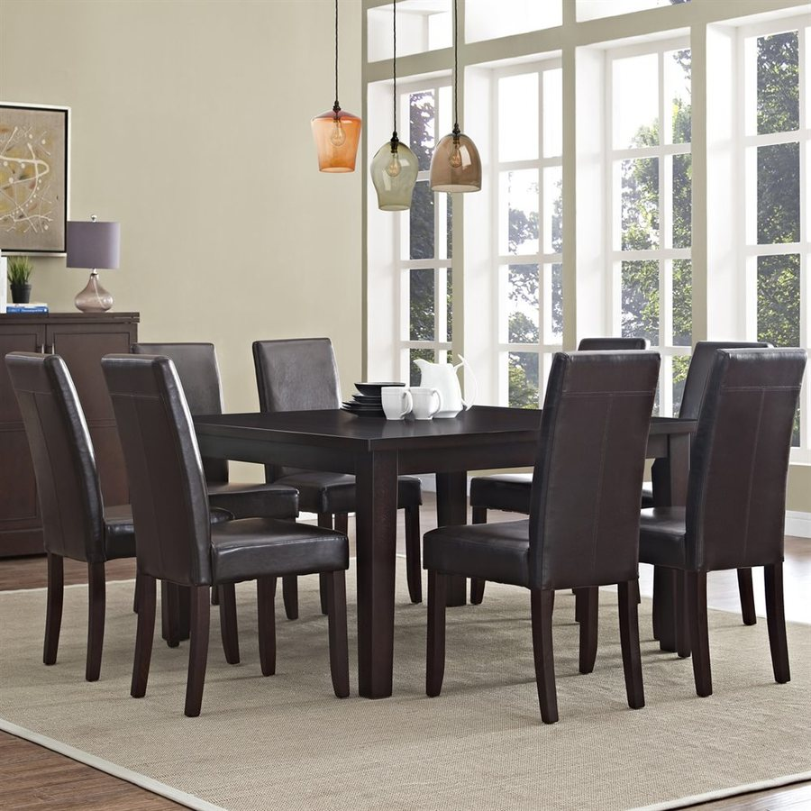 Simpli Home Acadian Java Brown 9-Piece Dining Set with Dining Table