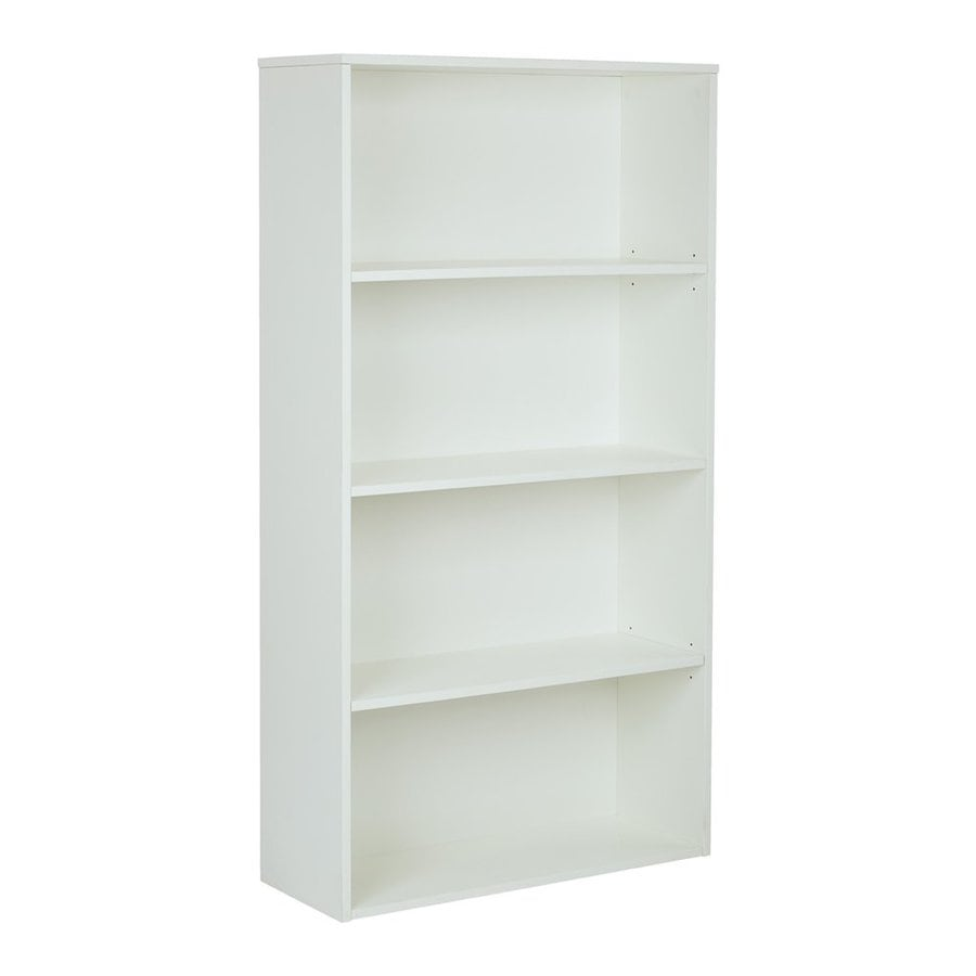 Office Star Prado White Composite 4-Shelf Bookcase