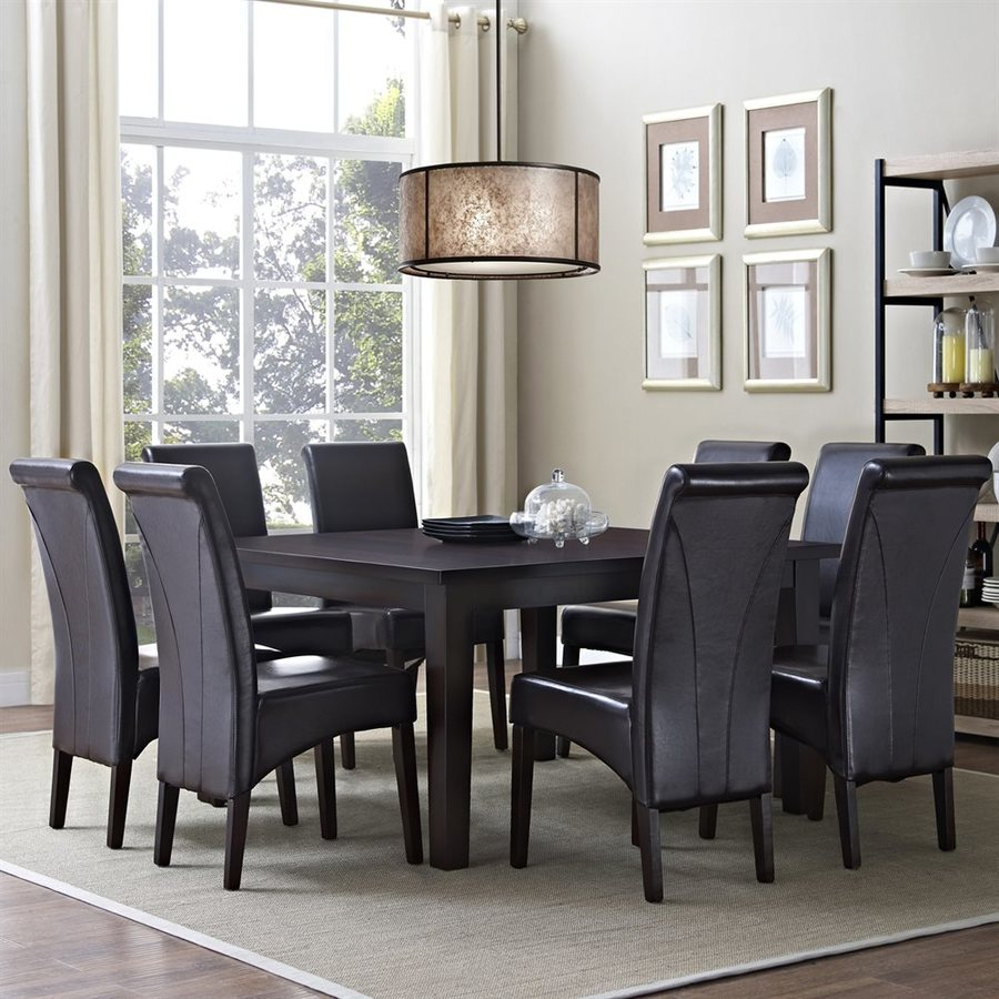 Simpli Home Avalon Java Brown 9-Piece Dining Set with Dining Table