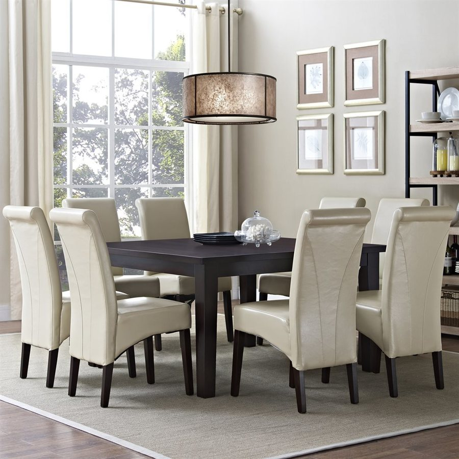 Simpli Home Avalon Java Brown Dining Set with Square Table