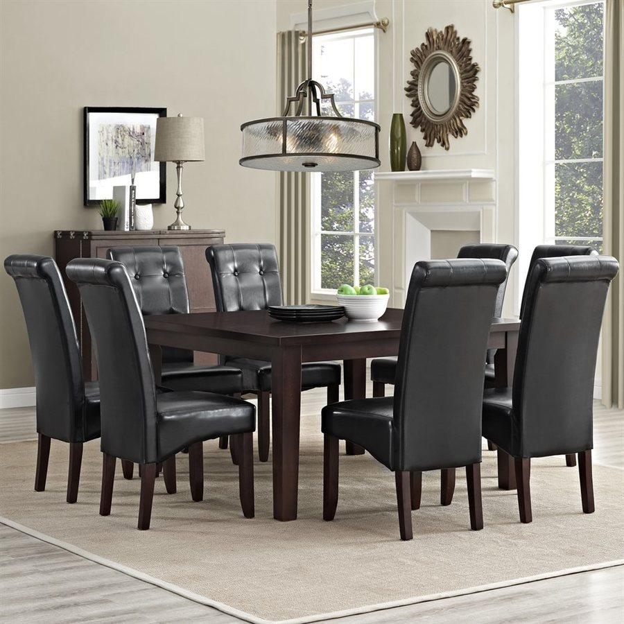 Simpli Home Cosmopolitan Java Brown 9-Piece Dining Set with Dining Table