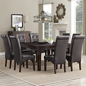 Simpli Home Cosmopolitan Java Brown 9 Piece Dining Set With Dining Table