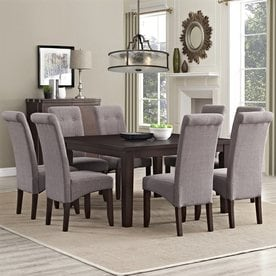 Lovely Simpli Home Cosmopolitan Java Brown 9 Piece Dining Set With Dining Table
