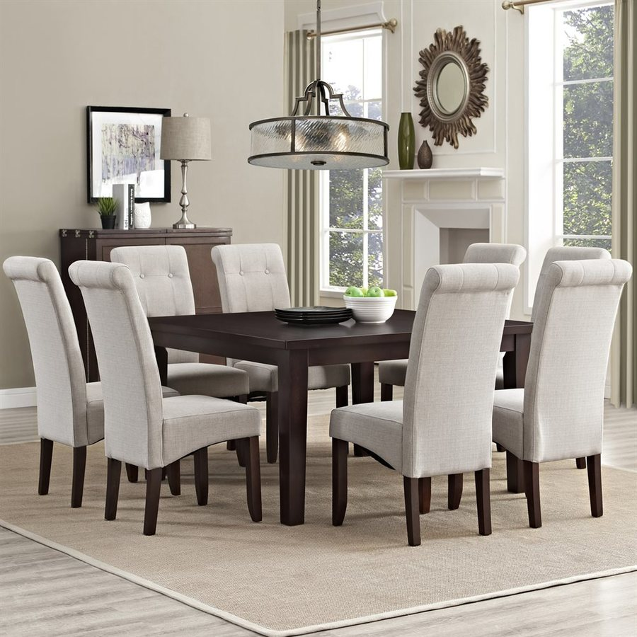 Simpli Home Cosmopolitan Java Brown Dining Set with Square Table