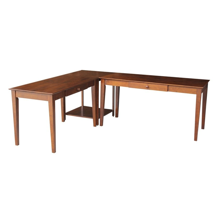 International Concepts Traditional Espresso L-Shaped Desk