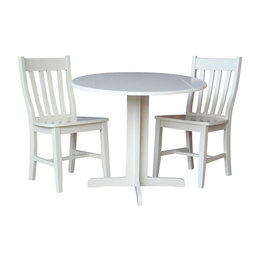 International Concepts Cafe Dining Essentials Linen White 3 Piece Dining Set  With Round Dining Table
