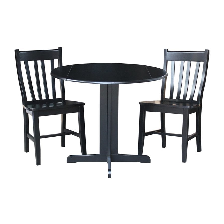 International Concepts Cafe Dining Essentials Black 3 Piece Dining Set With  Round Dining Table