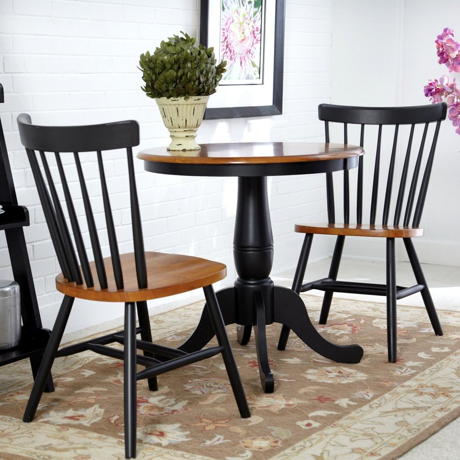 International Concepts Copenhagen Cherry/Black Dining Set with Round Dining Table
